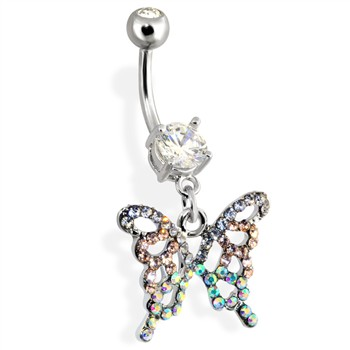Navel Ring with Paved Butterfly