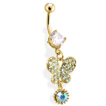 Gold Tone Dangling Butterfly Belly Ring