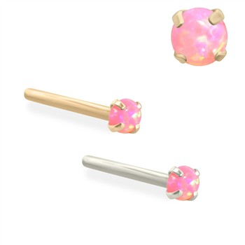 14K Gold Customizable Nose Stud with 2mm Round Pink Opal