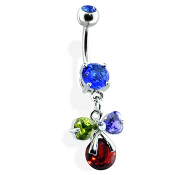 Multi Gemmed Bow Belly Ring