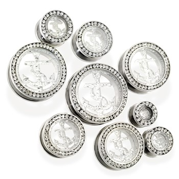 Pair of clear Glitter Anchor Tunnels