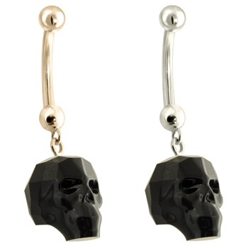 14K Gold Belly Ring with Dangling black  Skull