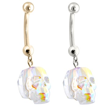 14K Gold Belly Ring with Dangling AB Skull