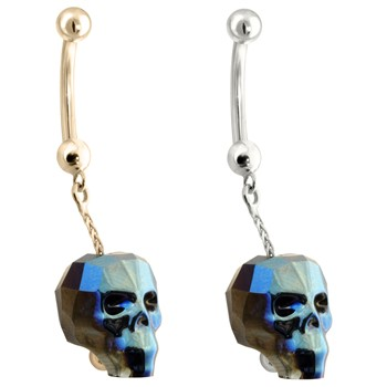 14K Gold Belly Ring with a dangle Chain and rainbow Skull