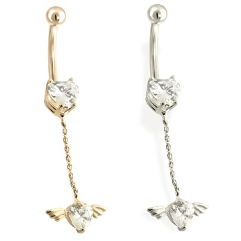 14K Gold Heart CZ with Wing and Heart Dangle Belly Ring