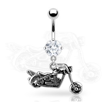 Navel Ring Round CZ with Motorcycle Dangle