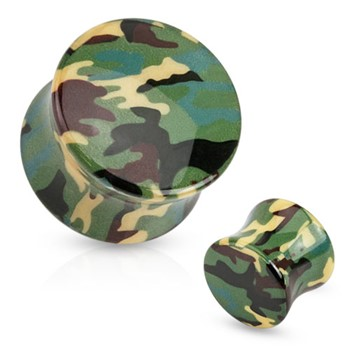 Pair Of Green Camouflage Printed UV Acrylic Saddle Fit Plugs