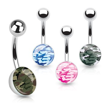 Camouflage Print Inlayed Surgical Steel Navel Ring