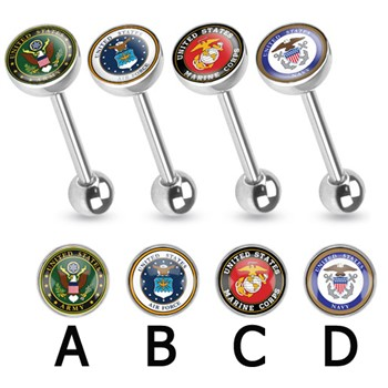 US Military Logo Print Inlayed Surgical Steel Barbell