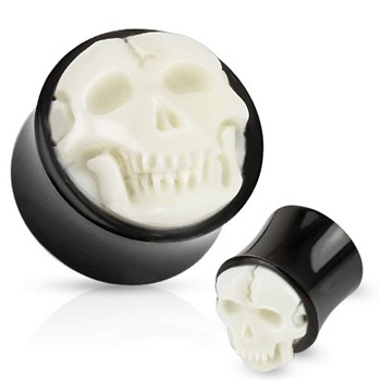 Pair Of Bone Skull Hand Carved Inlay with Organic Horn Saddle Plugs