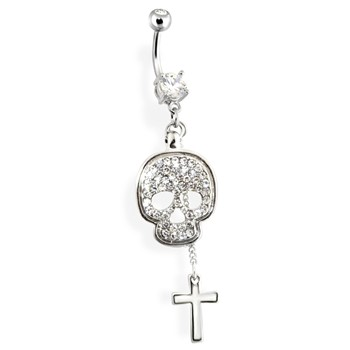 Navel Ring with Dangling Paved Skull And Cross