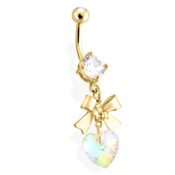 Gold Tone Belly Ring with Dangling Bow with Heart