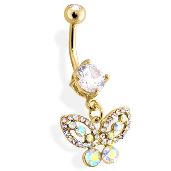 Gold Tone Belly Ring with Dangling Butterfly