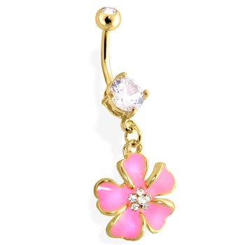 Gold Tone Belly Ring with Dangling Pink Flower