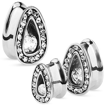 Pair Of Single Set CZ with Multi-Gemmed Rim Steel Tear Drop Tunnels