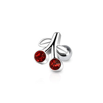 Surgical Steel Cherry With Red CZ Tragus/Cartilage Piercing Stud