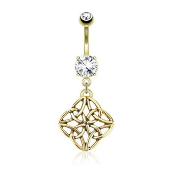 Celestial Knot Dangle Surgical Steel Over Gold Tone Navel Ring