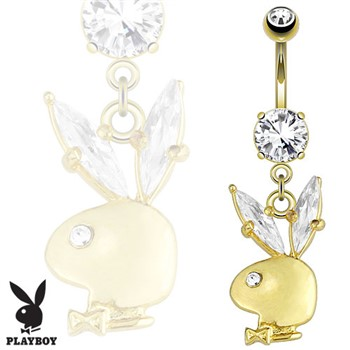 Playboy Bunny Gemmed Ear Dangle 14Kt Gold Tone Navel Ring