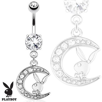 Playboy Bunny with Paved Gemmed Moon Dangle Steel Navel Ring