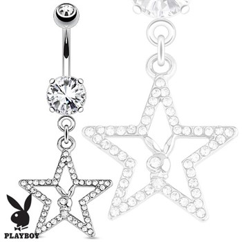 Playboy Bunny with Paved Gemmed Star Dangle Steel Navel Ring