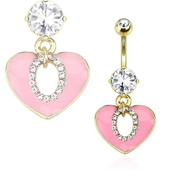 Pink Epoxy Filled Heart with Oval String Of Paved Gems Gold Toned Navel Ring