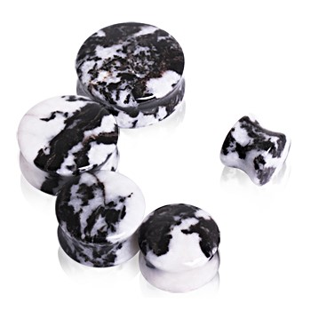 Pair Of Natural Zebra Stone Saddle Plugs