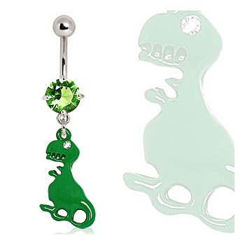 Surgical Steel Green Dinosaur Navel Ring