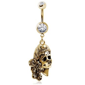 Gold Toned Gemmed Navel Ring with Undead Siren Dangle