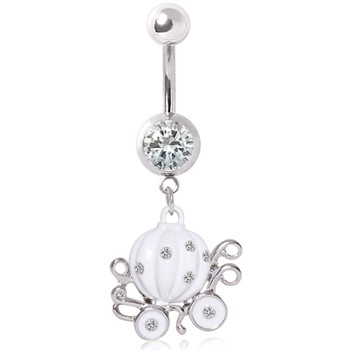 Surgical Steel White Enameled Pumpkin Carriage Gemmed Navel Ring