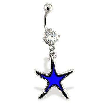 Belly Ring with Color Changing Dangling Star