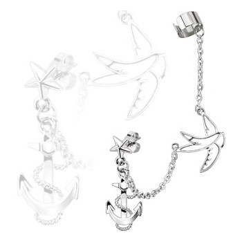Star Stud Chain Earring with Swallow And Anchor Dangles with End Clip In Surgical Stainless Steel