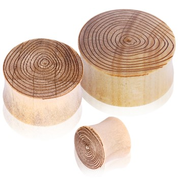 Pair Of Crocodile Wood Saddle Plugs with Engraved Wood Grain Motif