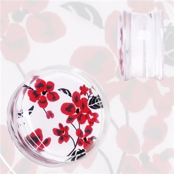 Pair Of Clear Acrylic Red And White Floral Print Saddle Plugs