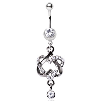 Surgical Steel Intertwined Hearts Gemmed Dangle Navel Ring