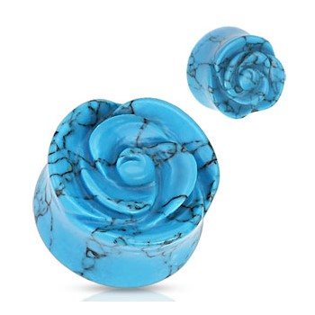 Pair Of TurquoiseHand-Carved Rose Plugs