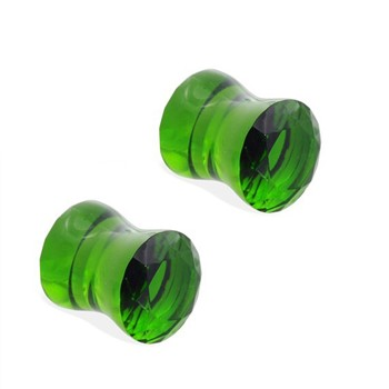 Pair Of Green Pyrex Glass Double Flared Saddle Plugs