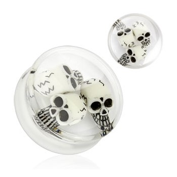 Pair Of Encased Triple Skull Clear Acrylic Saddle Plugs