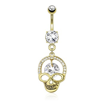 Hollowed Skull with Gem Paved Cranium Edge And Hanging Large CZ Dangle Gold Tone Navel Ring