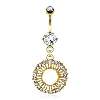 Circle with Gem Paved Edge Dangle Gold Tone Navel Ring