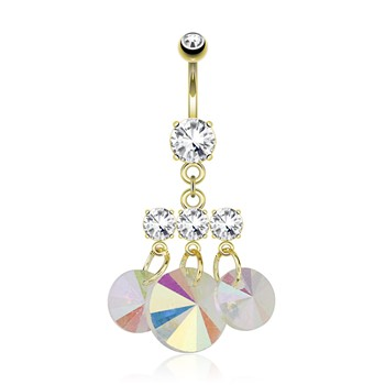Three Small CZ with Attached Round Prisms Dangle Gold Tone Navel Ring
