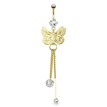 Butterfly Wings Overlapped And CZ Attached To Chain String Dangle Gold Tone Navel Ring