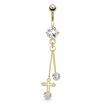 Cross with Large Round CZ Attached By Chain String Dangle Gold Tone Navel Ring