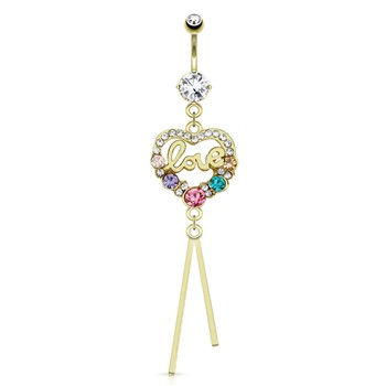"Heart Paved Gems with Multi Colored Gems And Word ""Love"" Dangle Gold Tone Navel Ring"