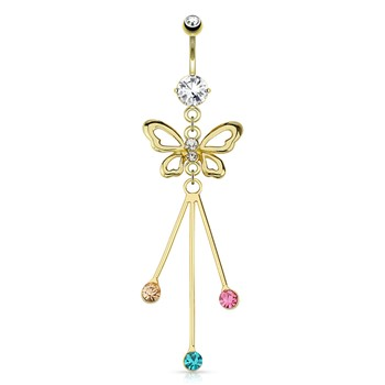 Gemmed Butterfly with Protruding Colored Gems Dangle Gold Tone Navel Ring
