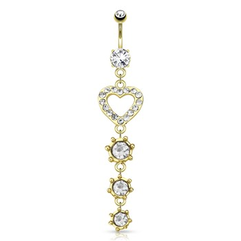 CZ Paved Heart with String Of Circular CZ Dangle Gold Tone Navel Ring