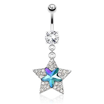 Star with Paved Gems And Aqua Star Gem Dangle Surgical Steel Navel Ring