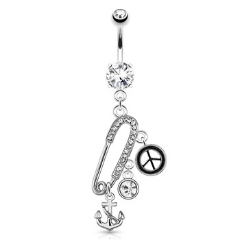 Safety Pin with Paved Gems And Anchor, Peace, CZ Charms Surgical Steel Navel Ring