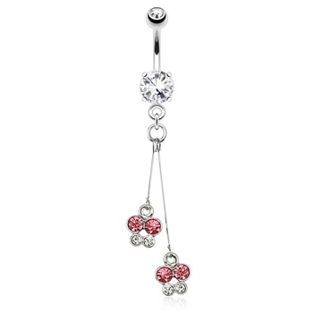 Two CZ Butterflies with Wire Dangle Surgical Steel Navel Ring