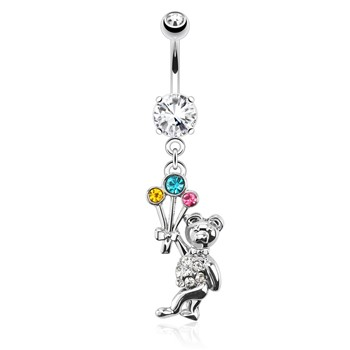 Flying Bear with Multi Color Gemmed Balloons Surgical Steel Dangle Navel Ring