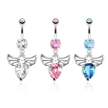 Angel Wings with Pear CZ Dangle Surgical Steel Navel Ring